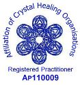 ACHO Association of Crystal Healing Organisations badge for registered practitioner www.cherylcolpman.co.uk