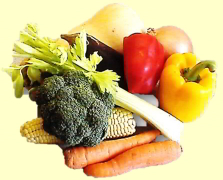 nutritious vegetables broccoli celery carrot red pepper yellow pepper aubergine rainbow of healthy veg Cheryl Colpman