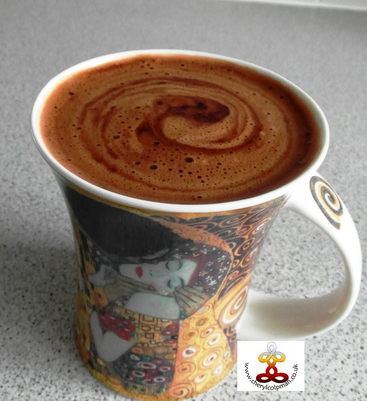 Hot chocolate with swirls on top vegan with maple Cheryl Colpman
