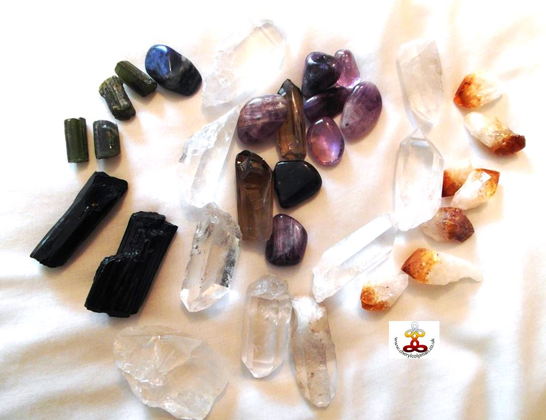 crystals used in a treatment sodalite metamorphosis quartz citrine green tourmaline crystal healing Cheryl Colpman