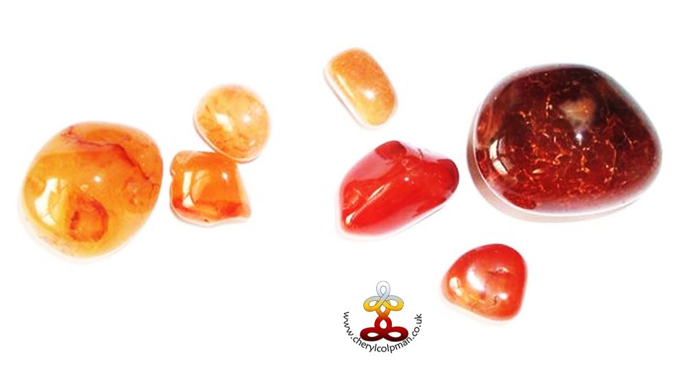 carnelian red orange crystals tumbled crystal healing with Cheryl Colpman