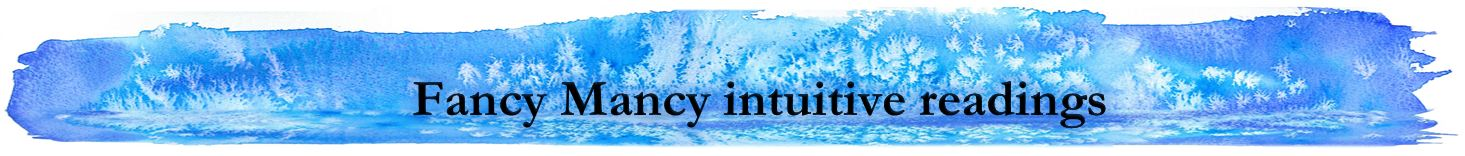 Fancy Mancy Intuitive readings heading on blue watercolour background