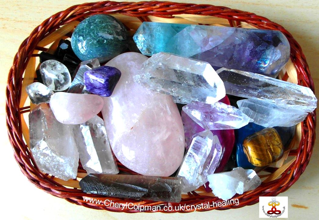 crystals in basket crystal healing session Cheryl Colpman