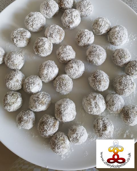fruit and nut coconut bliss ball sugar free bite size sweets Cheryl Colpman