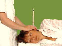 Relaxing ear candling treatment also known as Hopi Ear Candles