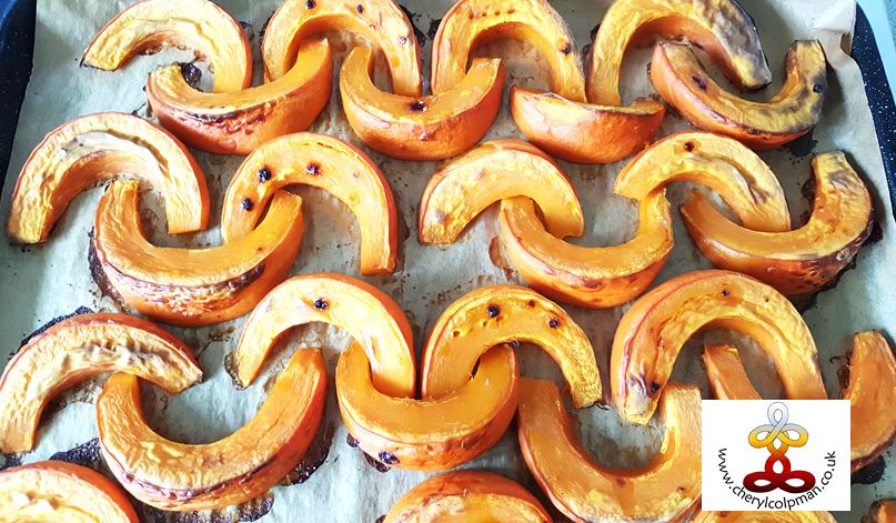 Roast squash slices cut  into smiles crescents Cheryl Colpman