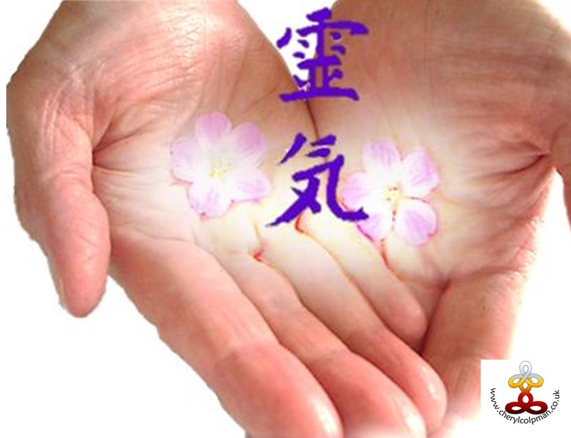 reiki hands with kanji for Reiki glowing flowers in palms representing energy flow Cheryl Colpman